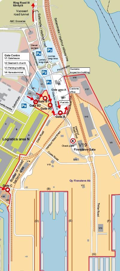 Паромная компания Finnlines. План Порта Вуосаари / Vuosaari.
