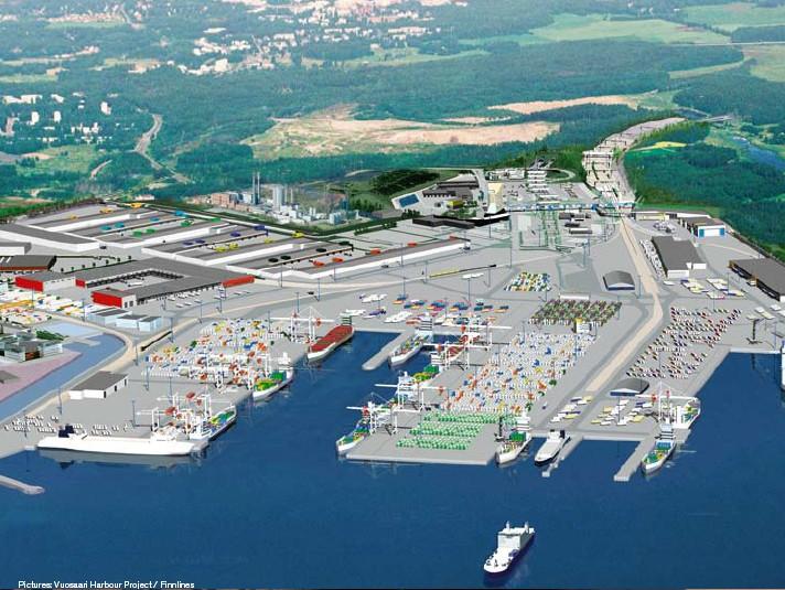 Паромная компания Finnlines. Общий вид Порта Vuosaari.
