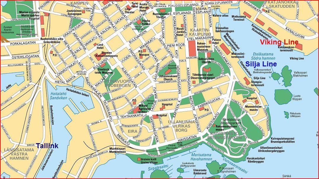 Карта Helsinki. Порты Таллинк, Силья лайн, Викинг лайн.  www.NaParome.ru