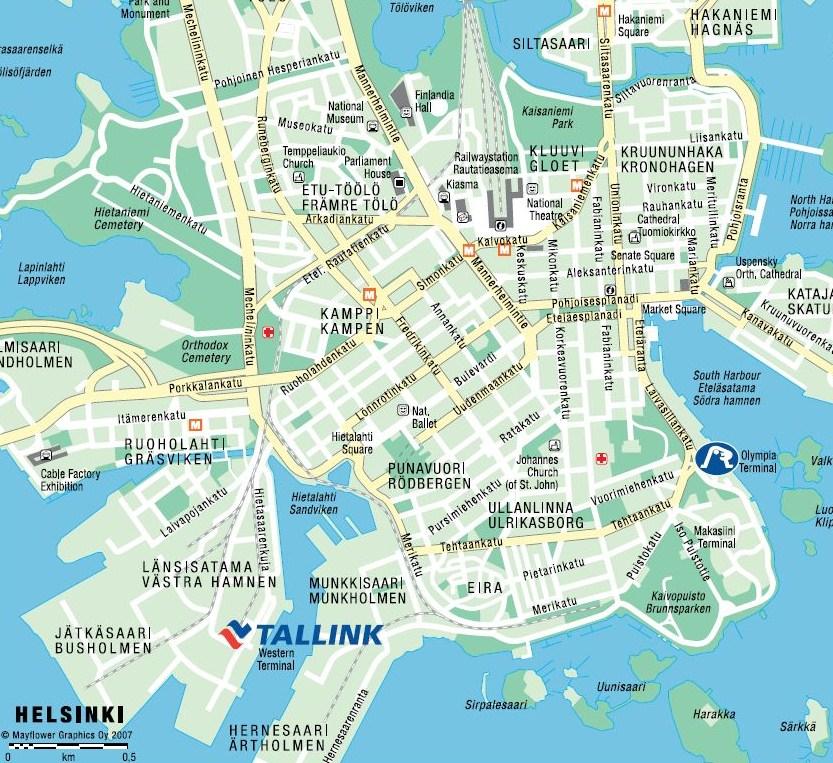 Карта Хельсинки. Порт Южный.