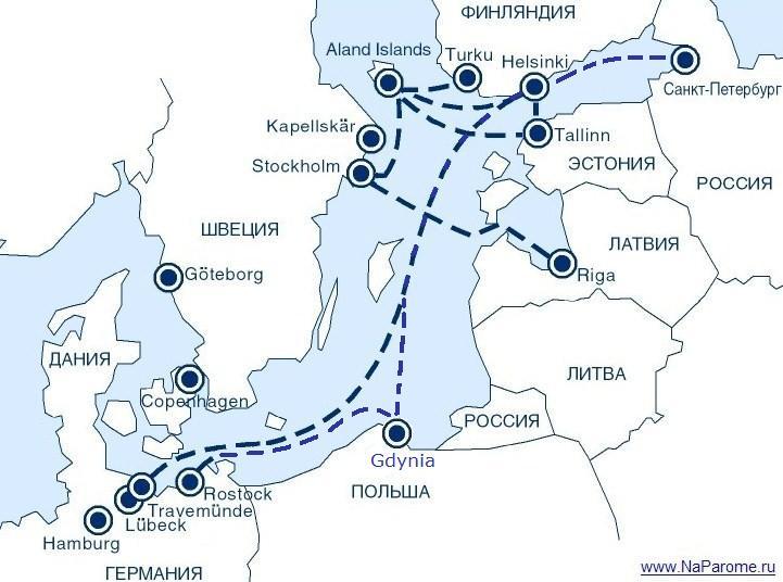 Карта маршрутов паромных