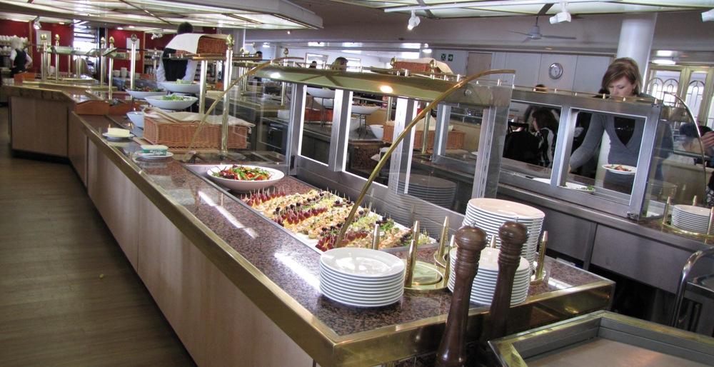 Паром Принцесса Анастасия. Ресторан Seven Seas / Семь морей.  Шведский стол. www.naparome.ru