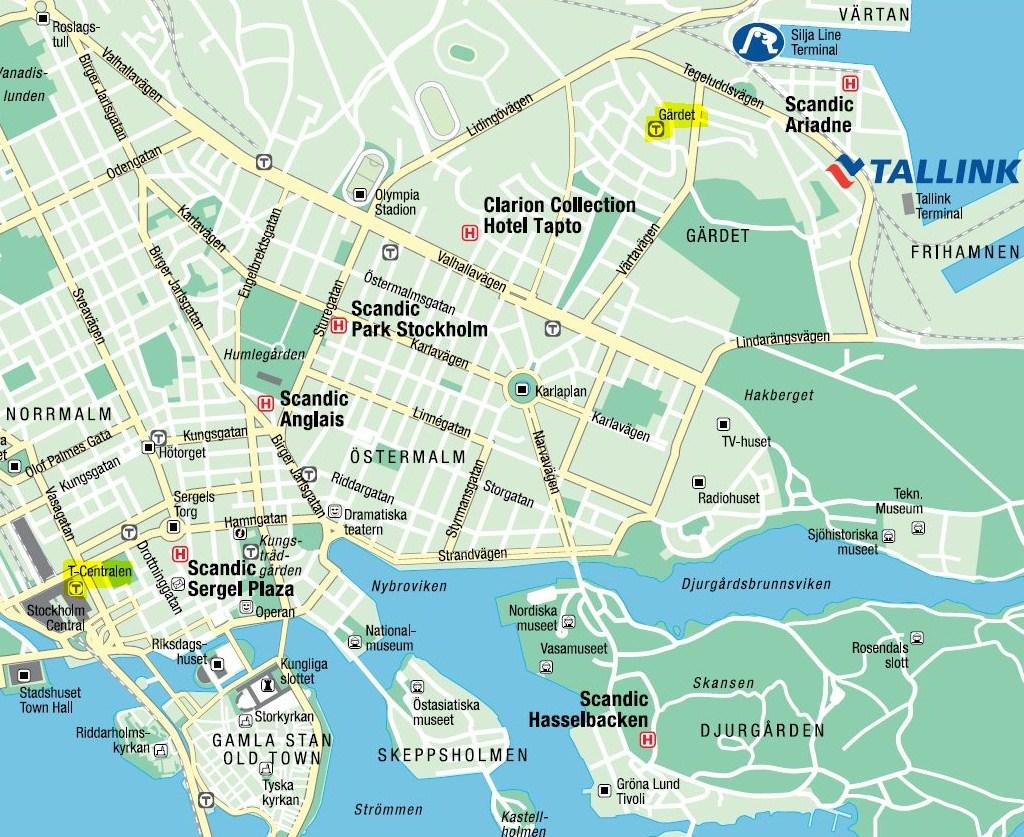 Карта Стокгольма. Stockholm map. Tallink Silja ports. Порты Vartan и Fihamnen в Стокгольме.