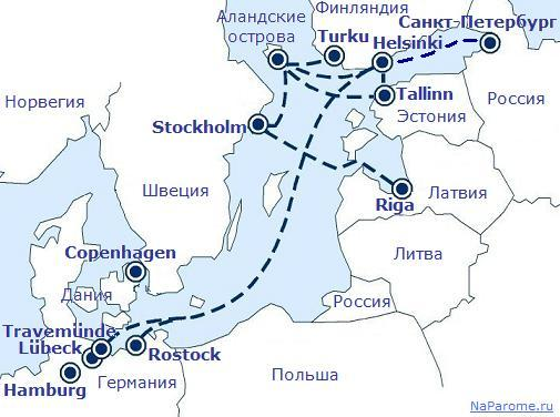 Карта маршрутов паромных компаний Tallink Silja, Viking Line, St.Peter Line, Finnlines.