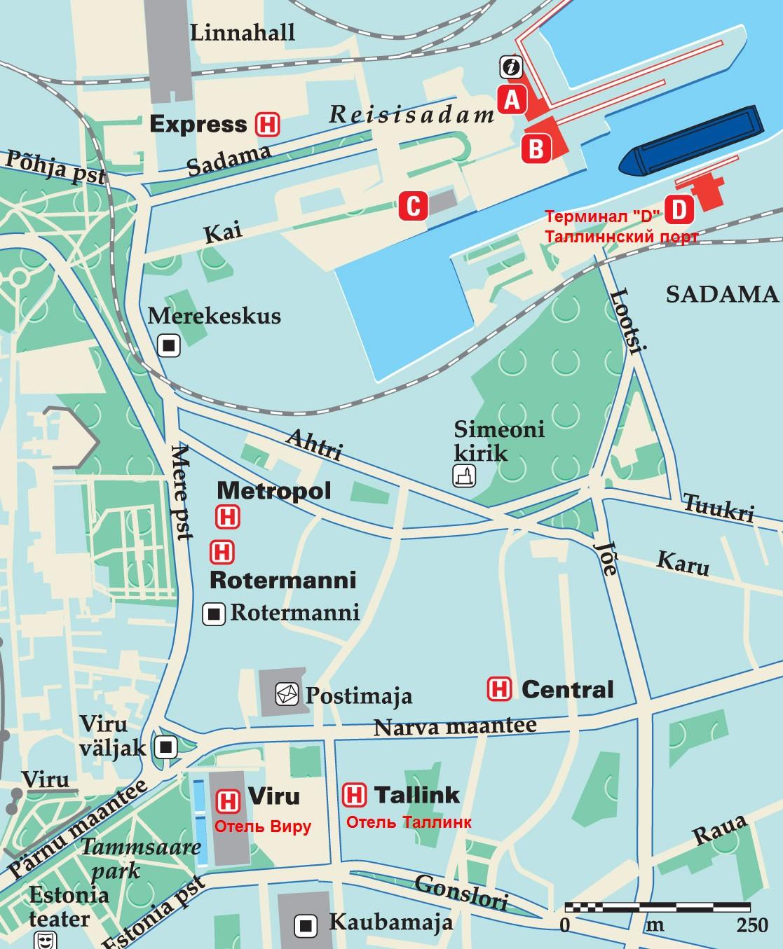 """Паромная компания Tallink Silja, Терминал """"Д"""" в Таллинне, план."""