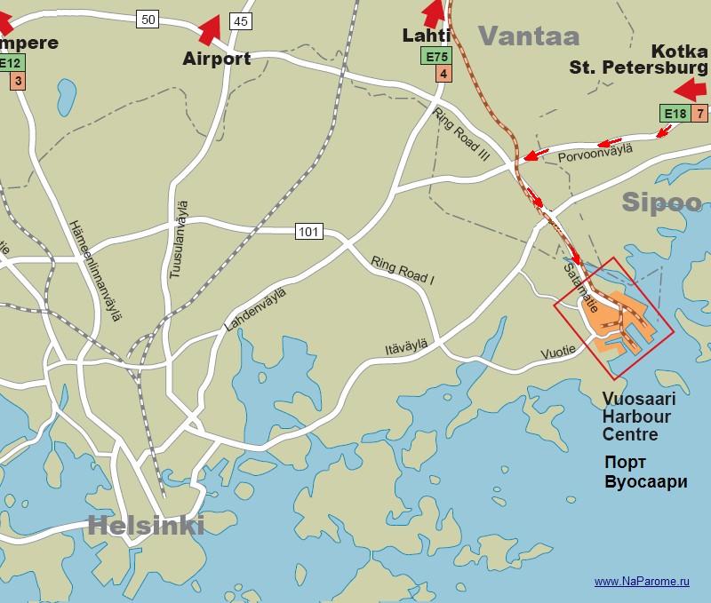 План проезда по третьей кольцевой автодороги KEHA III в порт Vuosaari.