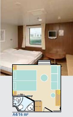 Каюта А4. Четырехместная с окном. Площадь 16 кв. метров. Паром Finnstar, паромная компания Finnlines