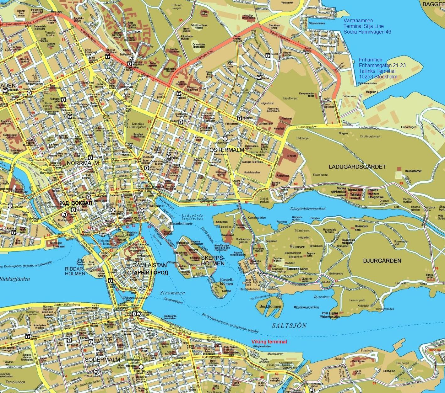Карта Стокгольма с обозначением терминалов Tallink, Silja Line, Viking Line. Stockholm map. www.NaParome.ru