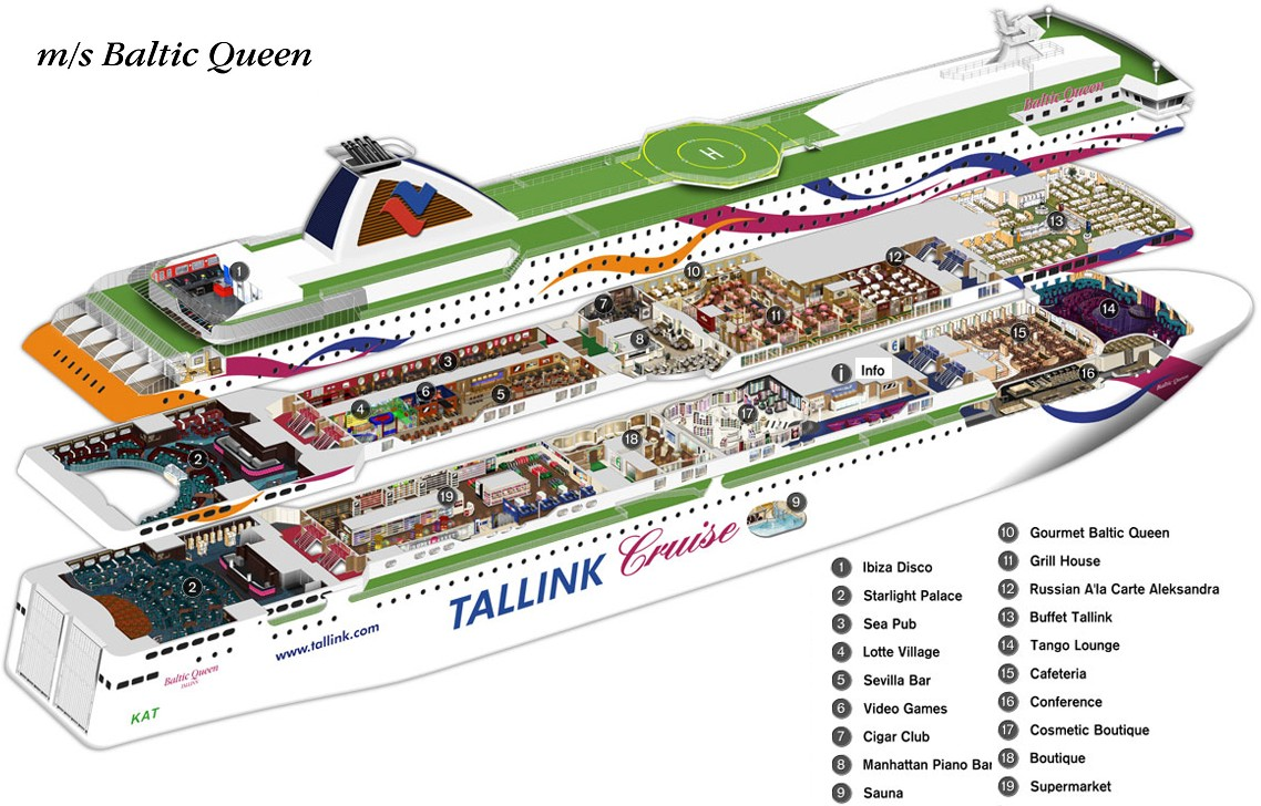 Паром Baltic Queen в разрезе. Паромная компания Tallink Silja.